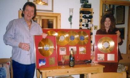 Chris and Linda with their Magna Carta Golden Albums